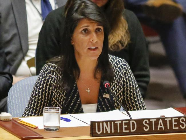 United States Ambassador to the United Nations Nikki Haley speaks at the UN Security Council emergency meeting over North Korea's latest missile launch on August 29. Picture: AFP