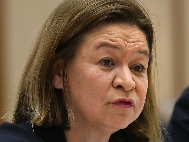 ABC Managing Director Michelle Guthrie appearing at a Senate Environment and Communications Legislation Committee. Picture Kym Smith