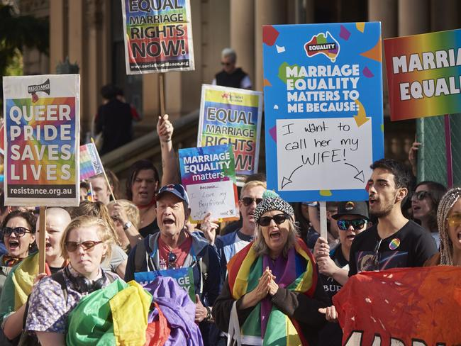 Hundreds of Sydneysiders have attended a rally supporting same-sex marriage, on the eve of a Liberal party room meeting on the issue. Picture: AAP
