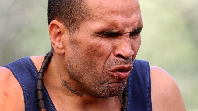 Australia's reaction at hearing Anthony Mundine's comments after he hotfooted out of I'm A Celebrity ... Get Me Out Of Here! Picture: Nigel Wright/Network TEN