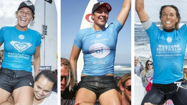 Stephanie Gilmore, Tyler Wright and Sally Fitzgibbons are all in the chase for the 2017 world crown of surfing.