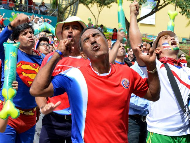 This man's team (Costa Rica) won, imagine his face if they lost.