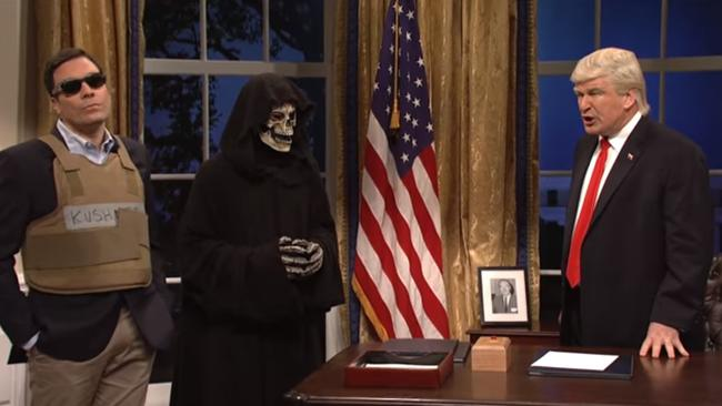 Jimmy Fallon as Jared Kushner, Stephen Bannon portrayed as the Grim Reaper and Alec Baldwin as Donald Trump in the Saturday Night Live skit.