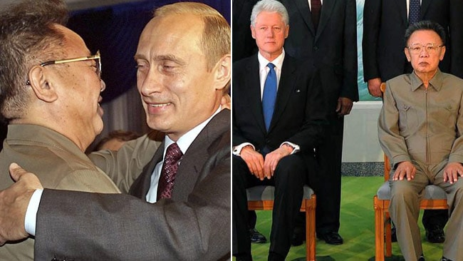 Kim Jong Il embraces Vladimir Putin in 2002 and with Bill Clinton in 2009. Pictures: AFP/ Supplied