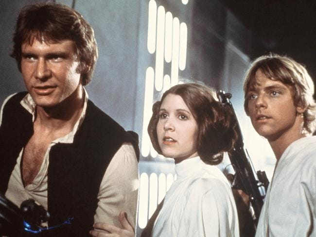 Star Wars Episode IV: A New Hope, starring Carrie Fisher, Harrison Ford and Mark Hamill. Picture: AP