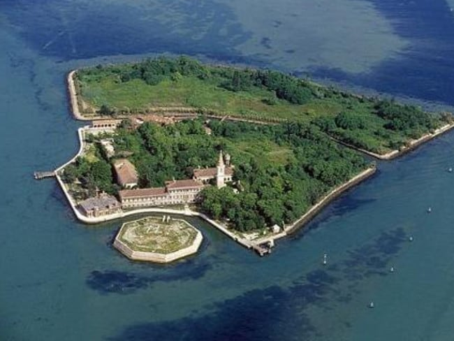 Scary and spooky ... an aerial view of the haunted Poveglia Island.