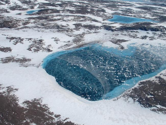 A frozen meltwater lake along the northeast Greenland coast. Picture: NASA