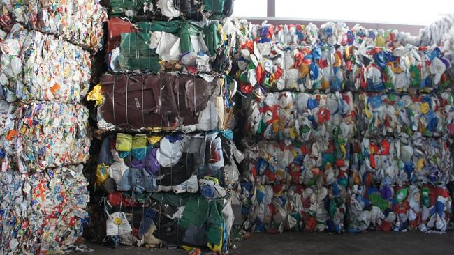 Bales of sorted, recycled plastic in a Houston recycling facility. Pic: Adam Minter.