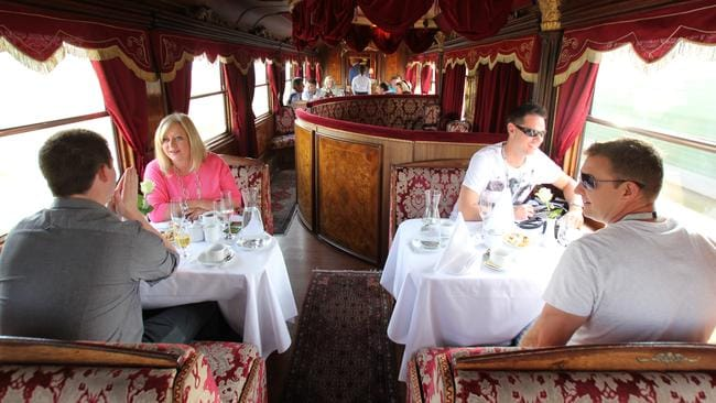 The plush dining car of the Majestic Imperator.