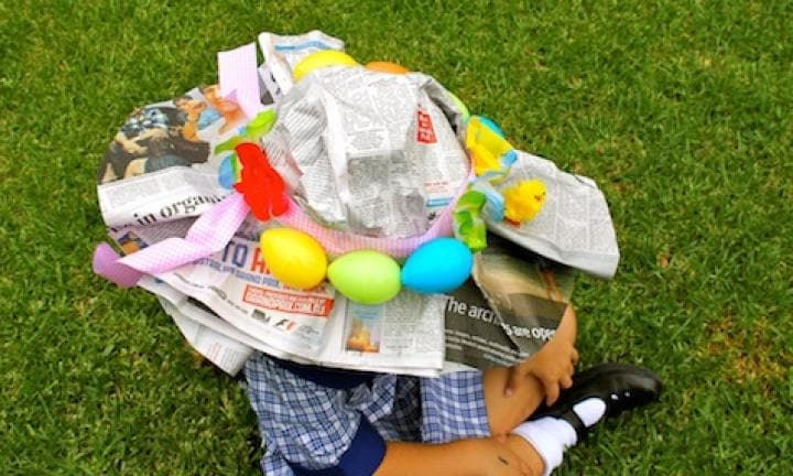 Newspaper Easter hat idea
