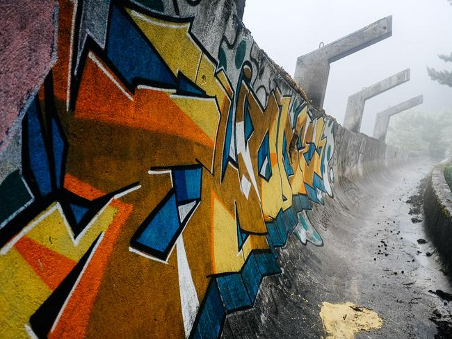 Graffiti brings colour to the war ravaged site. Picture: Nate Robert/yomadic.com