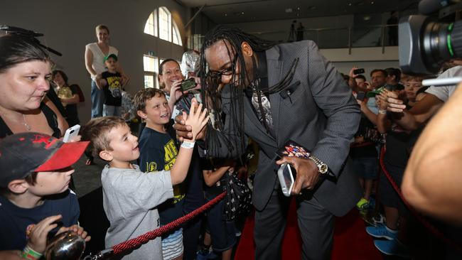 WWE Superstar Booker T greets fans at Luna Park, Sydney.