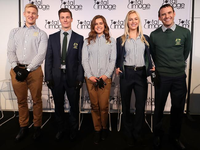 Our Olympians wearing the new Australian 2018 Winter Olympic Games uniform.