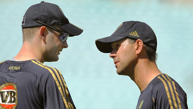 Former Australian captain Ricky Ponting (R) talks to his then vice-captain Michael Clarke as Australia prepares for the fifth Test match of the 2009 Ashes series at the Oval in London.