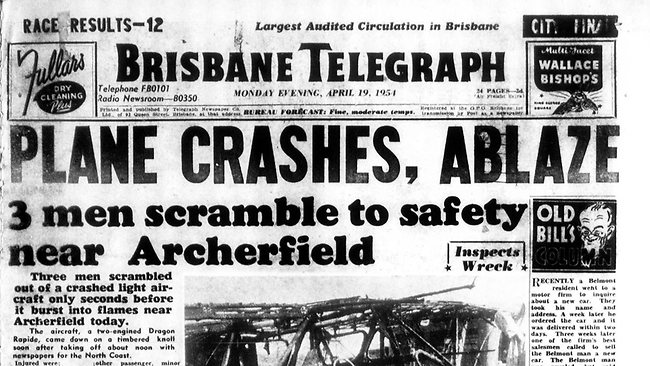 The front page of the Brisbane Telegraph on April 19, 1954.