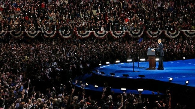 President Barack Obama gave a victory speech that will be remembered as one his greatest speeches. Picture: AP