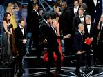 'La La Land' producer Jordan Horowitz stops the show to announce the actual Best Picture winner as 'Moonlight' following a presentation error during the 89th Annual Academy Awards. Picture: AFP