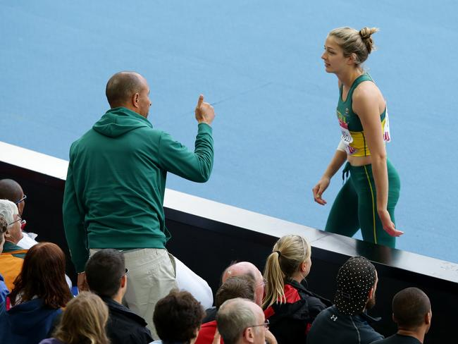 Athletics Australia head coach Eric Hollingsworth was still seen at the Hampden Park track and coaching athletes like Sophie Stanwell in the Heptathlon (pictured) despite being suspended over the Sally Pearson comments. Picture: Adam Head