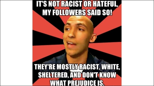 This image would be considered trolling but yet it addresses issues of racism. Picture: Knowyourmeme.com