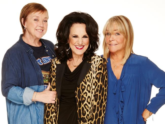 Pauline Quirke as Sharon, left, with Lesley Joseph (Dorien) and Linda Robson as Tracey, right, in the return of  <i>Birds of a Feather</i>.