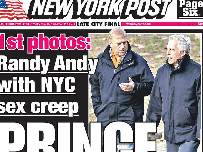 Prince and perv ... How the New York Post reported the former friendship of Prince Andrew and convicted sex-offender Jeffrey Epstein in 2011. Picture: Splash