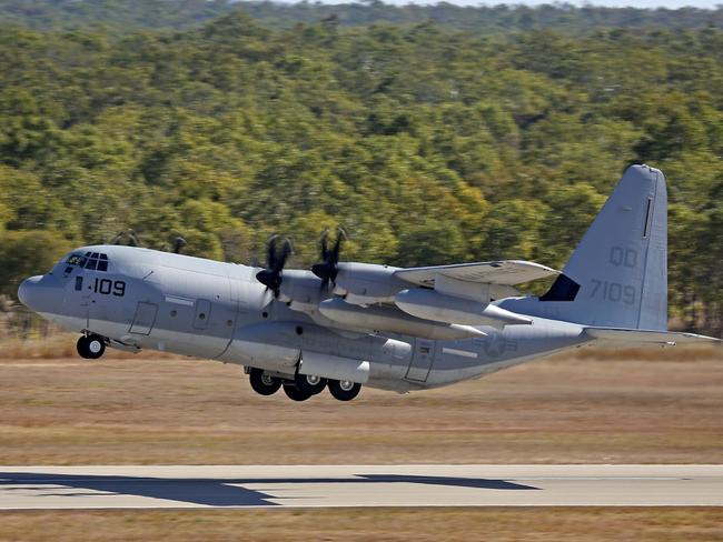 A United States Marine KC-130J Hercules aircraft similar to the one believed to have crashed in Mississippi.