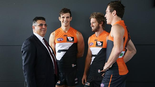 Andrew Demetriou talks with Giants stars Phil Davis, Callan Ward and Jeremy Cameron. Picture: Phil Hillyard