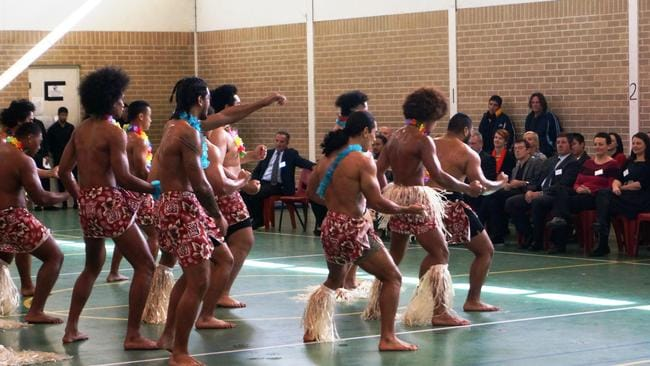 Detainees perform traditional dances for visitors. Culture is a big part of the program.