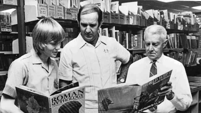 """Kevin Rudd at school ... after he won the 1974 """"Youth Speaks for Australia"""" competition. He shows his prizes to..."""