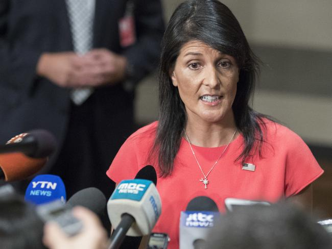 US Ambassador to the United Nations Nikki Haley speaks to reporters after a Security Council vote on a new sanctions resolution against North Korea. Picture: Mary Altaffer/AP