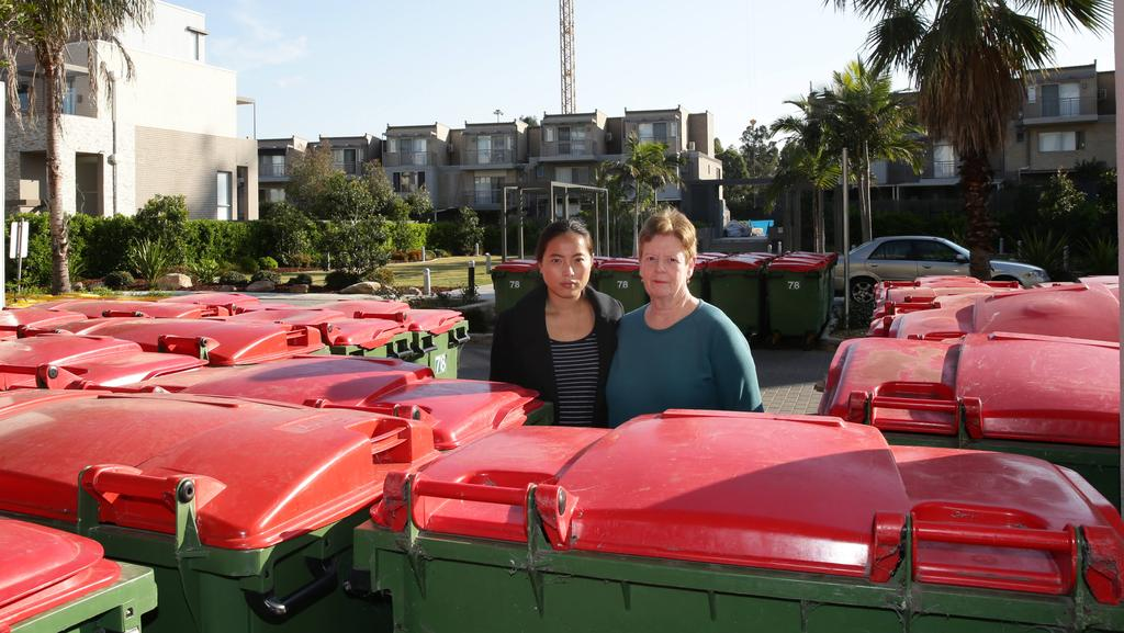 Centenary Park Residents Regina Cao And Anne Sullivan With The Ever Present Bins Outside Their