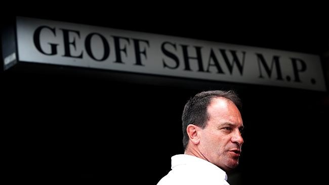 Geoff Shaw outside his Frankston office today. Picture: Norm Oorloff
