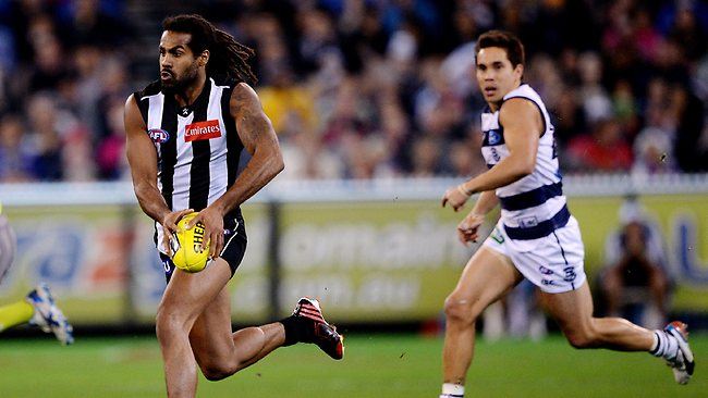 AFL Round 8: Collingwood v Geelong at MCG Melbourne 18th May 2013, Harry O'Brien on the run from Matthew Stokes. Picture: Petch Colleen