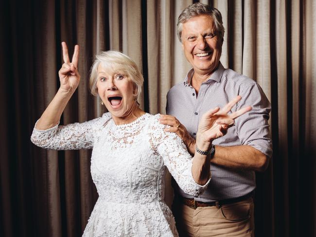 Mirren jokes around with  <i>The Hundred-Foot Journey </i>director Lasse Hallstrom in LA. Picture: AP