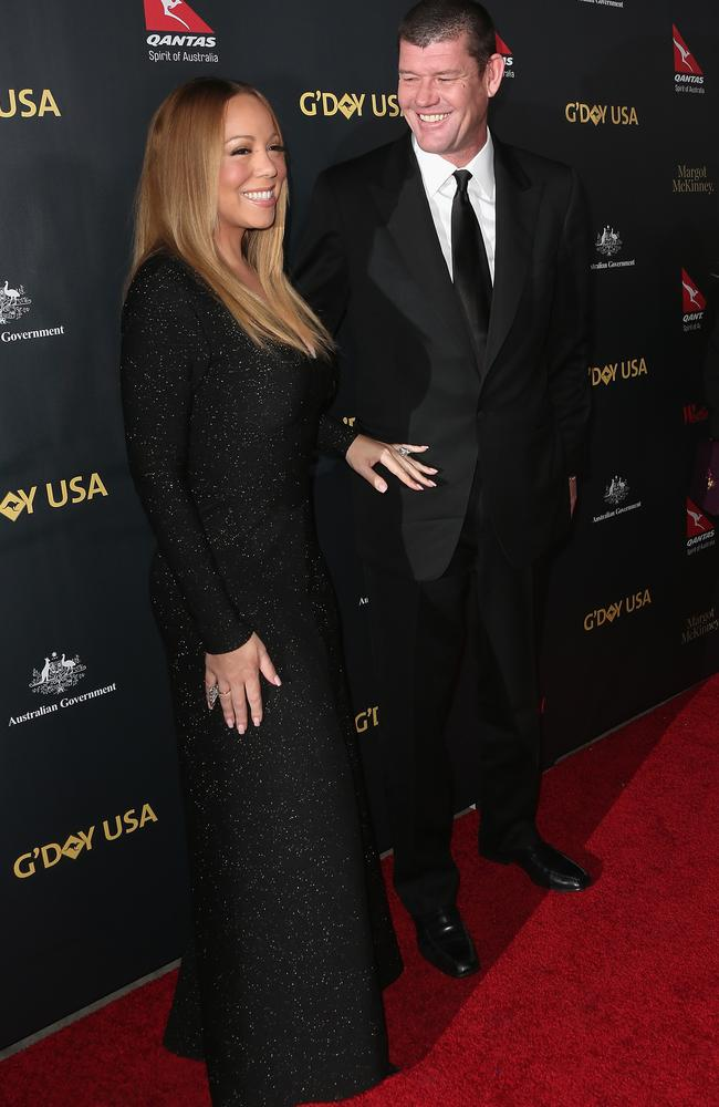 Singer Mariah Carey and James Packer attend the 2016 G'Day Los Angeles Gala at Vibiana on January 28, 2016 in Los Angeles, California. Picture: Frederick M. Brown/Getty Images