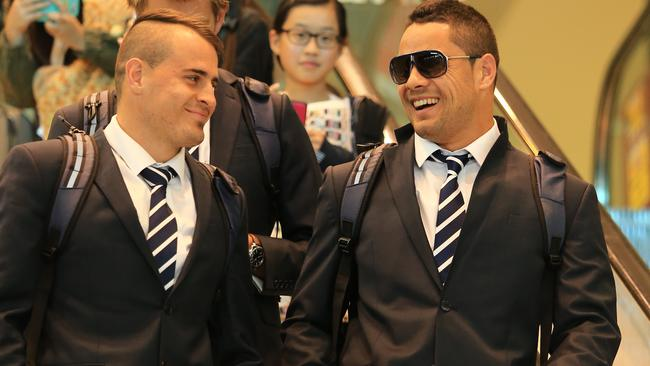 Josh Reynolds and Jarryd Hayne arrive back at Sydney airport. Pic: Mark Evans
