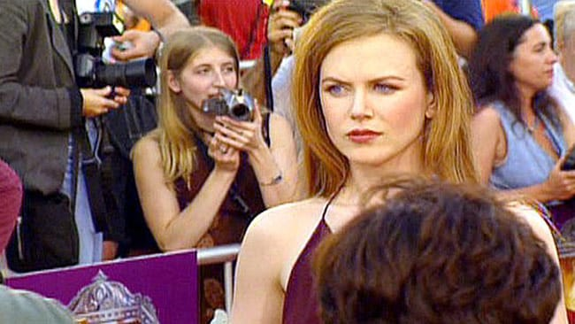 Kidman looks angry on the red carpet. Her marriage to Cruise ended less than a year and a half later. Picture: Splash News