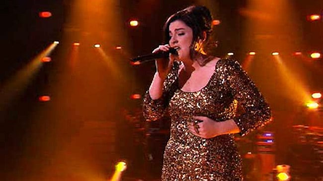 Karise Eden performs on the finale of The Voice. Picture: Channel Nine