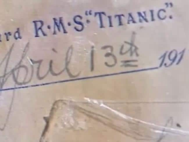 A letter written by a first class Titanic passenger has sold for $216,000. Picture: Nine News