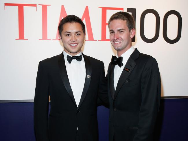 Bobby Murphy and Evan Spiegel attend the TIME 100 Gala, TIME's 100 most influential people in the world back in 2014. Picture: Jemal Countess