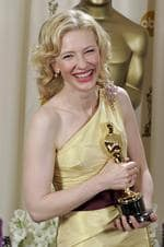 Cate Blanchett poses with the Oscar she won for best supporting actress for her work in film 'The Aviator at the 77th Academy Awards in 2005. Picture: Getty