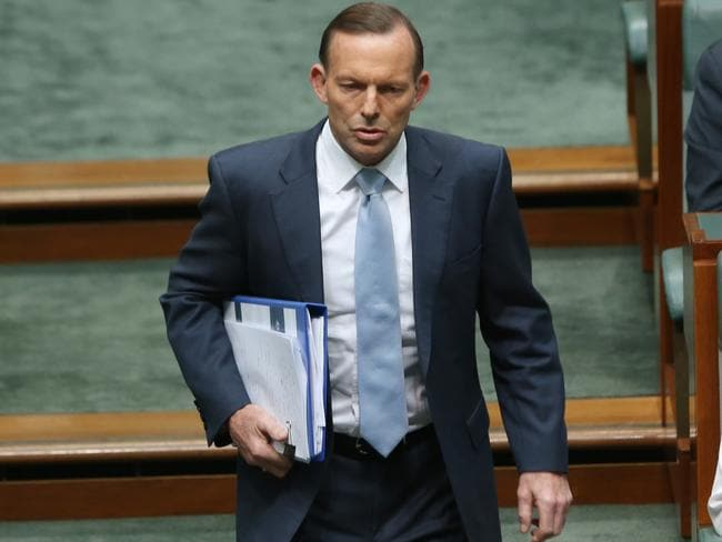 Talking tough ... Tony Abbott enters the chamber for Question Time. Picture: Gary Ramage
