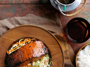 TASTE MATT PRESTON TURNING JAPANESE COLUMN .. Teriyaki Salmon Crisp Cabbage Salad Sushi Rice. Picture: taste.com.au