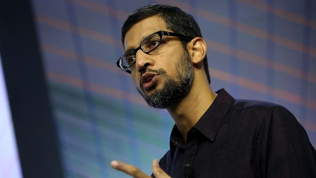 New hardware coming ... Google CEO Sundar Pichai speaks during a Google media event on September 29, 2015 in San Francisco, California. Google unveiled its 2015 smartphone line-up, the Nexus 5x and Nexus 6P, and new Android 6.0 Marshmallow software features. (Photo: Justin Sullivan/Getty Images/AFP.)