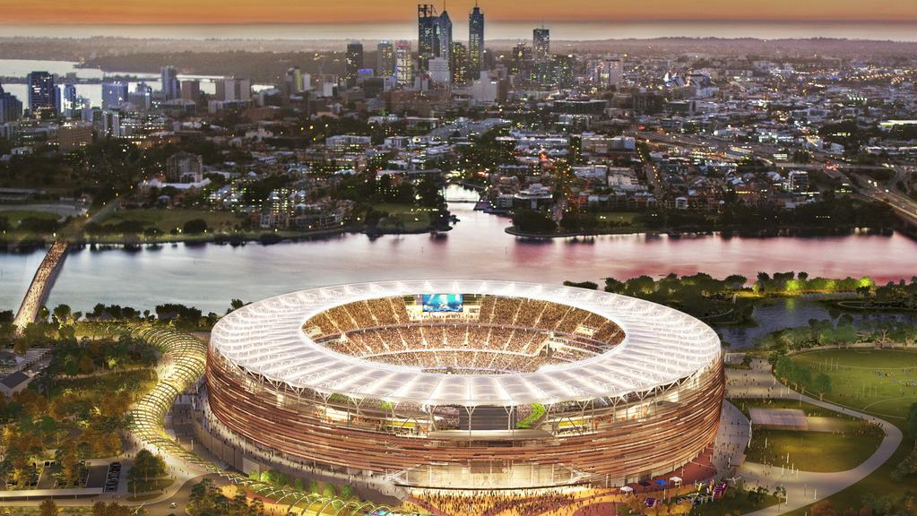 The design of Perth's new sports stadium at Burswood. The WA Tourism Council has revealed a bold new plan to attract football tourists to Perth.