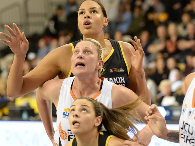 Olympian Liz Cambage in the Boomers loss to Townsville.