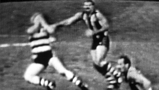 Hawthorn's Leigh Matthews was charged with assault for his on-field hit on Geelong's Neville Bruns at Princes Park in June 1985.