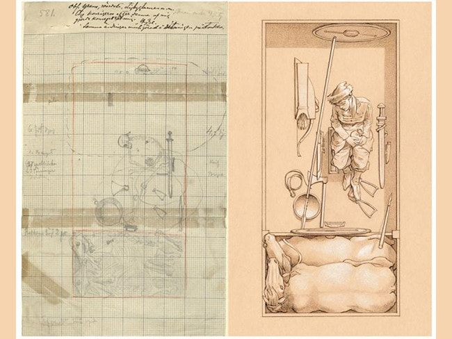 Left, a page from the excavation notes made in the 1880s. The drawing, right, is a reconstruction of how the grave with the woman originally may have looked. The illustration is made by Þórhallur Þráinsson (© Neil Price).