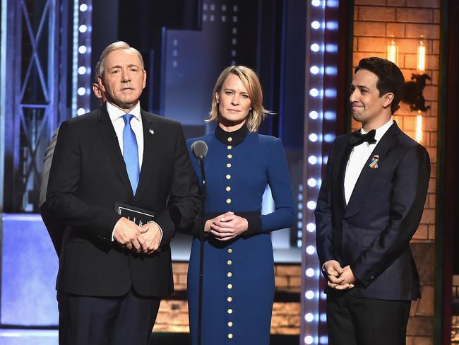 Kevin Spacey, Robin Wright, and Lin-Manuel Miranda speak onstage during the 2017 Tony Awards. Picture: Getty