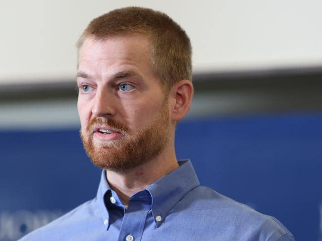 Alive and kicking ... Dr Kent Brantly speaks during a press conference announcing his release. Picture: Jessica McGowan/Getty Images/AFP